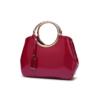 glossy maroon handbag