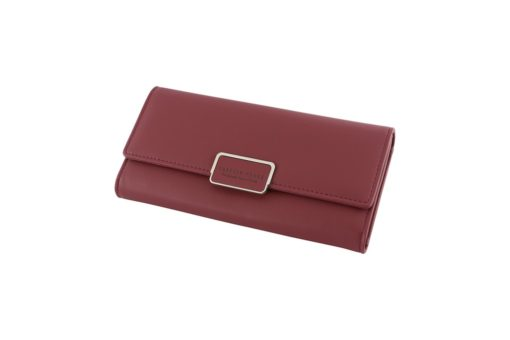 wine red long wallet