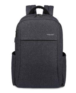 black grey usb backpack