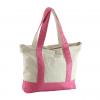 pink color canvas handbag