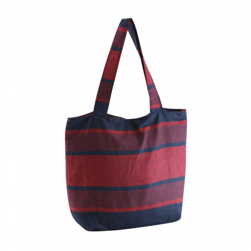 blue and red color casual handbag