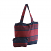 blue and red color casual handbag with pouch