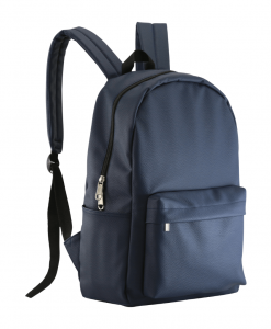 blue color PU leather casual backpack