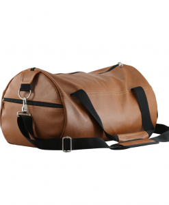 brown color pu leather travel bag