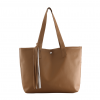 tan color synthetic leather casual handbag
