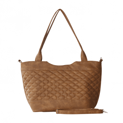 brown color dual compartent handbag